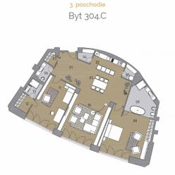 Vzdušný 3 izbový byt 304.C na pešej zóne v srdci Bratislavy