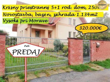 IBA U NÁS! Priestranný RD, 5+1, 421m2, poz. 1134m2, Vysoká pri Morave