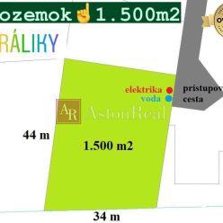 PREDAJ: pozemok o rozlohe 1.500 m2 (44 m x 34 m), Králiky