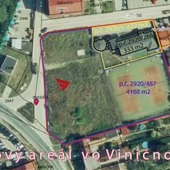 Stavebný pozemkom so športovým areálom vo Viničnom okr. Pezinok