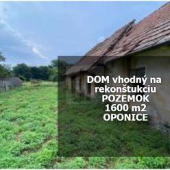 Directreal ponúka ***Rodinný dom s pozemkom o výmere 1600 m2 v obci OPONICE***