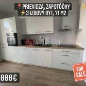 Predaj: 3 izbový byt s lodžiou, 71 m2, Prievidza, Zapotôčky