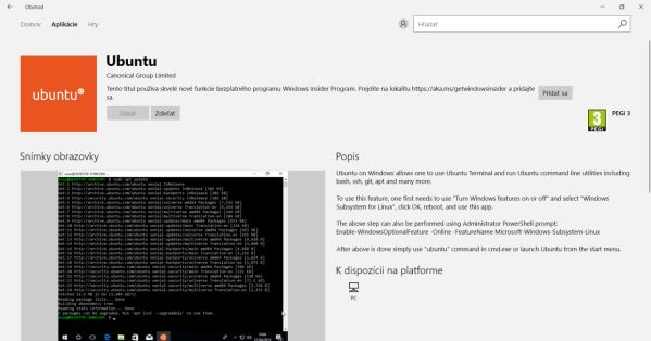 Ubuntu vo Windows Store
