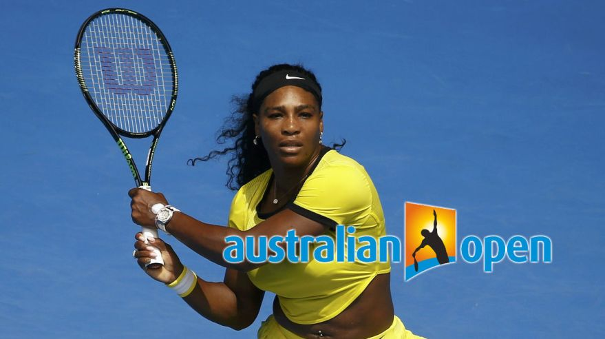Serena Williams, Australian Open, logo, Jan2016