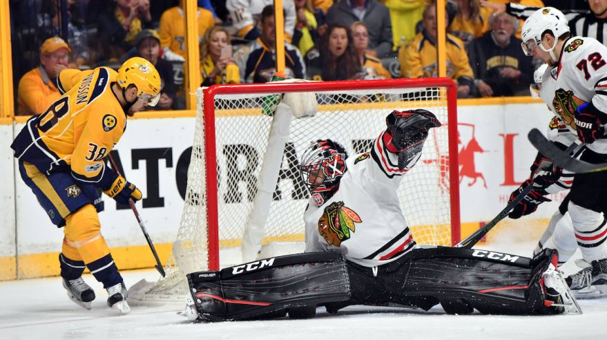 Nashville Predators, Viktor Arvidsson, Chicago Blackhawks, Corey Crawford, apr17, reuters